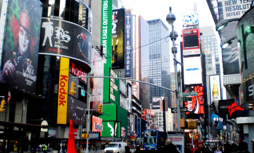 "Times Square. NYC. Enero de 2010. ""If I can make it hereI can make it anywhereThat's what they say"""