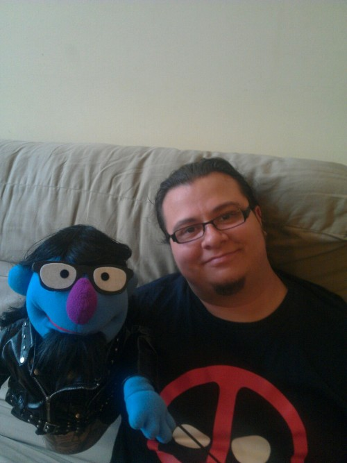 jimmythesquid:  me and my Muppet.  He's going to bring it home, I'll wander into the lounge in the night to get a drink and it will move of its own accord, strangling me slowly.