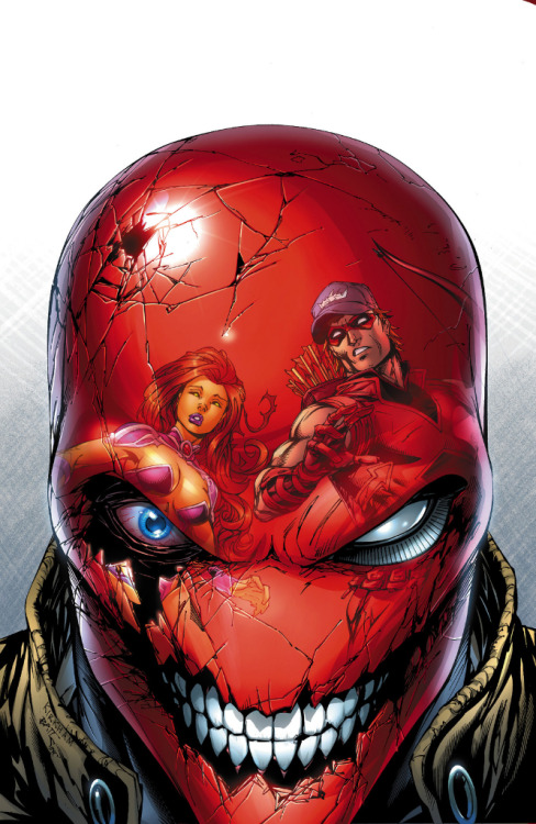 thegoddamnqueen:  beaschalantasyoulike:  Red Hood and the Outlaws #16 cover by Tyler Kirkham and Batt. This is hella creepy but AWESOME.  Well I'll be having nightmares about this tonight.