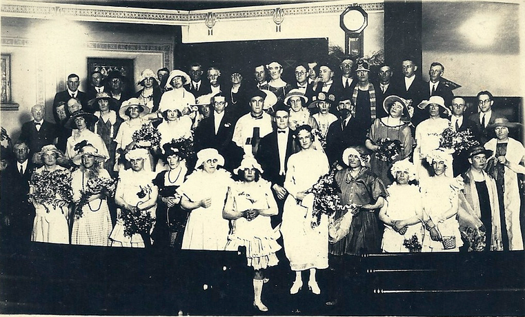 """womanless wedding"". a 1920s fundraiser featuring my great-grandfather as the bride.  (posted by J)"