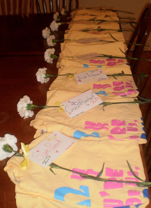 sororitysugar:  tees & white carnations ❤  This is from my chapter :)