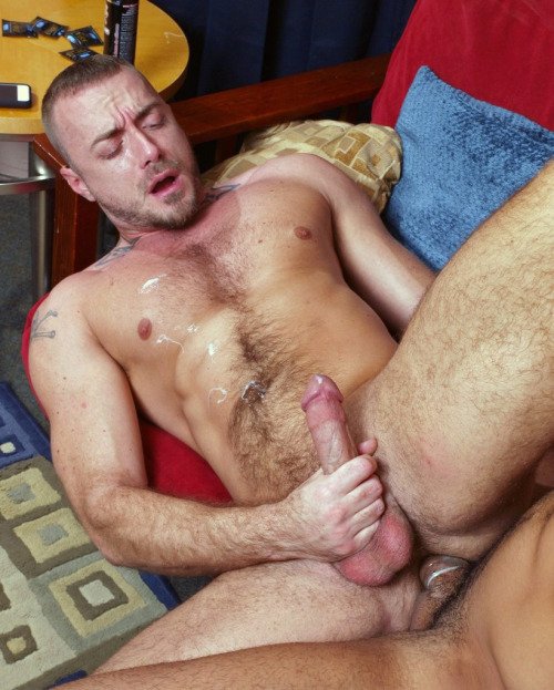 cumdumpguys:  Muscle pup blows a load with dick pounding his ass
