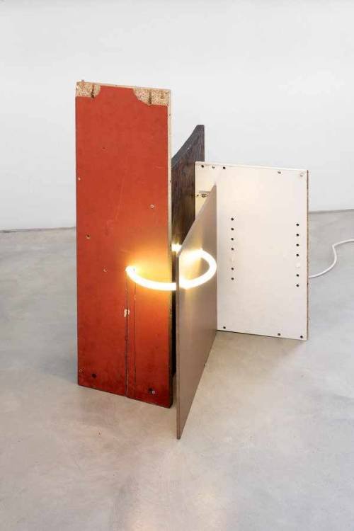 polychroniadis:  'Untitled' by Florian Neufeldt, 2010. Flourescent tube, wood, connection unit, cable.  90 x 50 x 70 cm