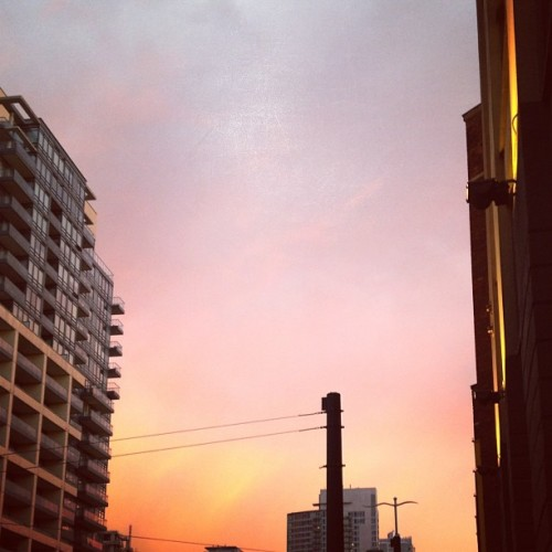 Pink sky on my run. (Taken with Instagram)