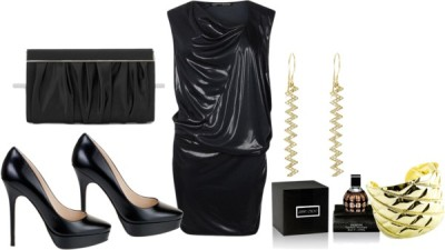 Dressed In Black by stizzy featuring gold banglesAllSaints  / Jimmy Choo  shoes / Jimmy Choo  handbag / Jennifer Meyer Jewelry gold earrings / Fantasy Jewelry Box gold bangle / Jimmy Choo