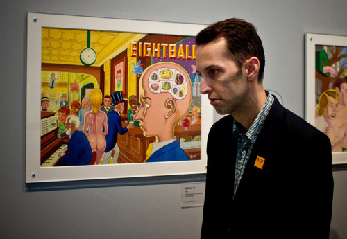 folkloreshed:  steven weissman yearns to be a daniel clowes character, especially like the bald thinking man in this cover from EIGHTBALL no. 17! photo by chris anthony diaz & colored by graham willcox also, BARACK HUSSEIN OBAMA has just been released! available here: http://www.fantagraphics.com/index.php?page=shop.product_details&flypage=shop.flypage&product_id=2162&category_id=297&manufacturer_id=0&option=com_virtuemart&Itemid=62
