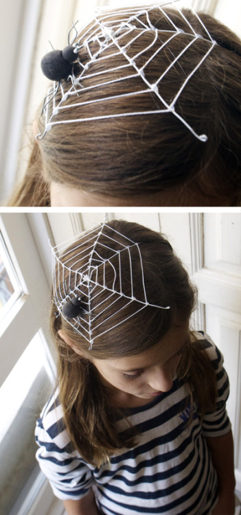truebluemeandyou:  DIY Halloween Spiderweb Fascinator from The Paper Fairy here. This headpiece is made out of white wire, yarn, and a spider. Elastic holds it in place.   *Or go with this more dramatic Spider Fascinator here and pair it with the DIY Corinne Day Knockoff Spiderweb Tee Shirt here.