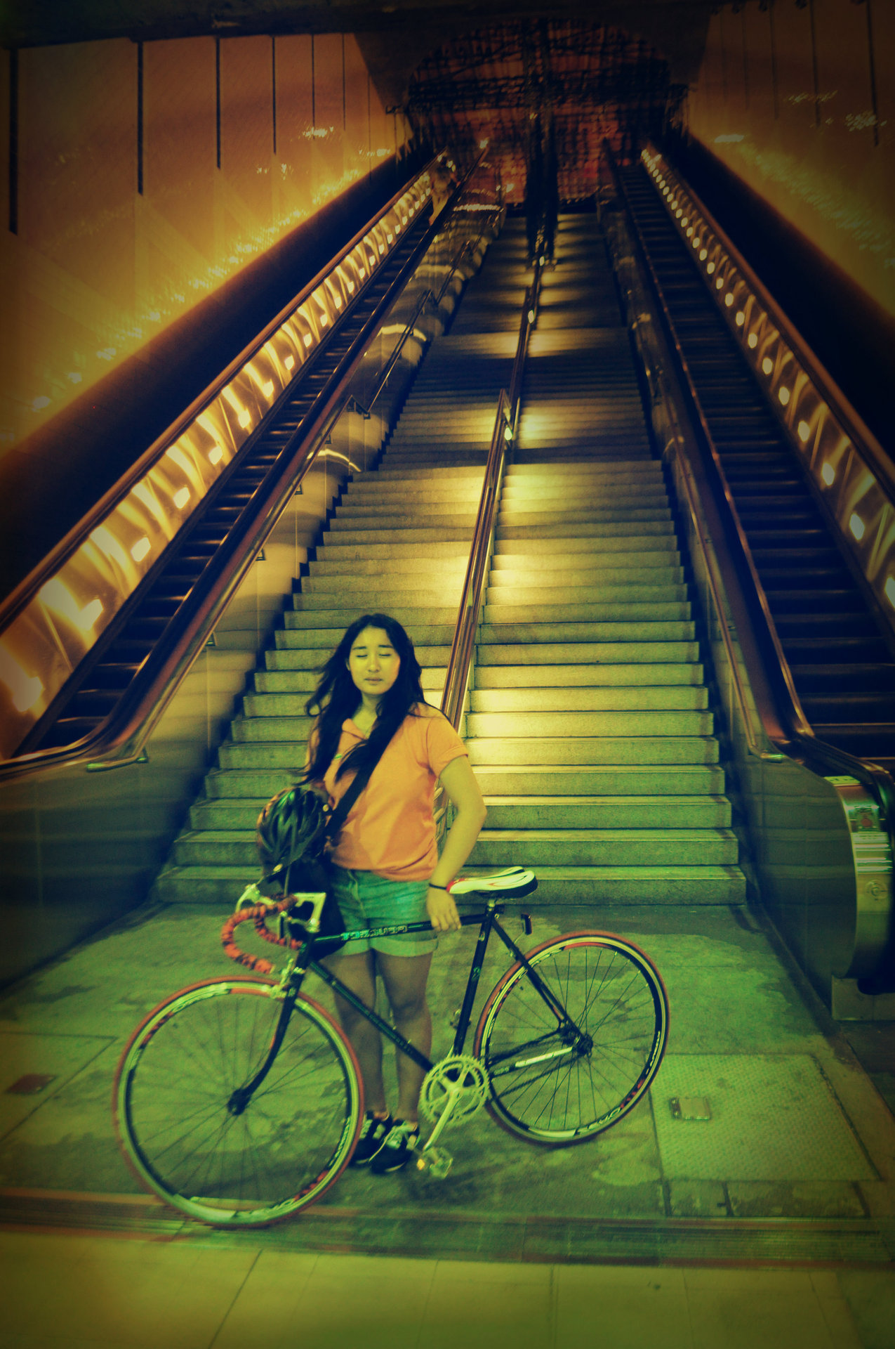 nnaear:  civic center metro station after ciclavia!  i miss my long hair :C