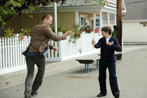 "David has a sword fight with Henry. For 16 more photos from Once Upon a Time's ""Lady of the Lake"" click here."