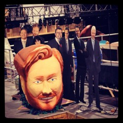 teamcoco:  High atop the greenroom sits the CONAN Mardi Gras head and a few friends. (Taken with Instagram at Warner Bros Stage 15)