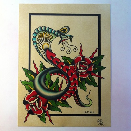#traditionaltattooflash #snake #roses #atl #dehilltattoo #searchlighttattoo #tattoo  (Taken with Instagram)