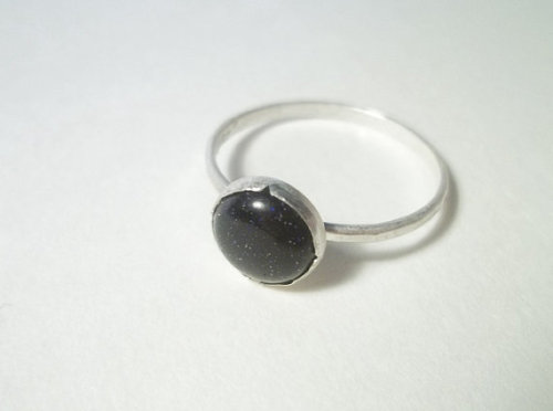 Blue goldstone sterling silver ring.