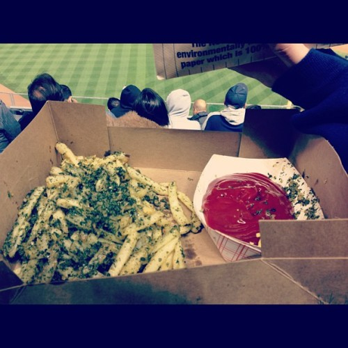 "my ""small"" garlic fries. WHO WANTS TO MAKE OUT LATER?! (Taken with Instagram at Yankee Stadium)"