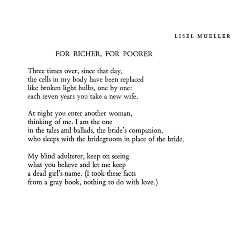 quote-book:  Lisel Mueller, For Richer, For Poorer (via helplesslyamazed)