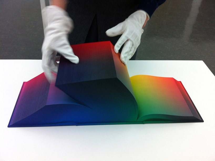 wetheurban:  THE PRETTIEST BOOK TO EVER EXIST Above is the RGB Colorspace Atlas by American artist Tauba Auerbach. An 8x8 hardcover tome that pretty much serves as an encyclopedia of every color in the RGB index. The special binding was co-designed by the artist herself in collaboration with Daniel E. Kelm, and were printed at wide awake garage, an independent bookbinder, with help from Leah Hughes. The Marilyn Monroe of books.