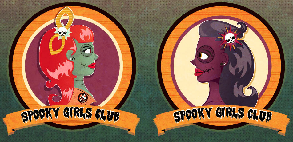 Spooky girl stickers.