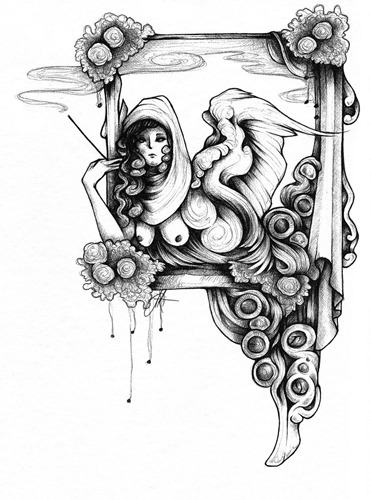 """The Observer's Perch"" Ballpoint pen. A spontaneous drawing and a nice break from what I'm currently doing this semester."