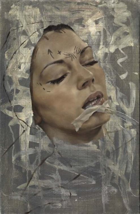 Jonathan Yeo Endobrow Lift (2012) Oil on Canvas (60.5 x 40.2 cm)