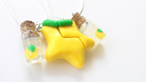 Customized Paopu fruit Necklace. Glittery bottle charms added. Regular charm available  here
