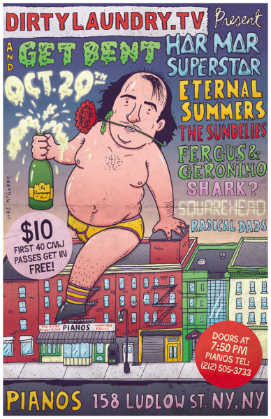 Poster for  Dirty Laundry TV + Get Bent, Har Mar Superstar CMJ show