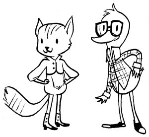 Just a little doodle! Dapper Cat and Nerdy Duck.
