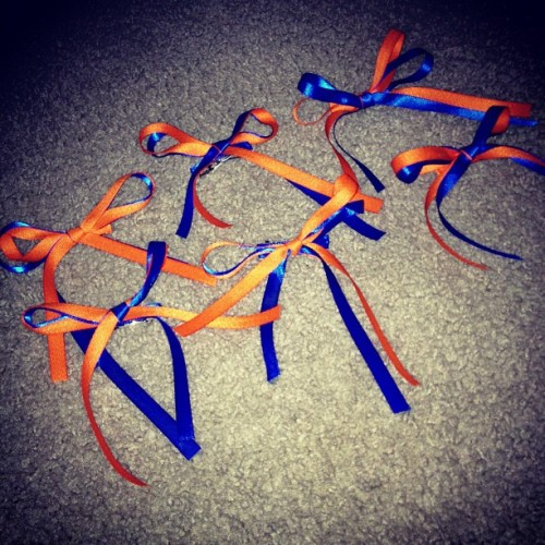 My bows! 😊👍🎀💙 #cute #bows #orange and #blue #ribbon #yay #happy #good #outcome #spirtday #ready ! (Taken with Instagram)