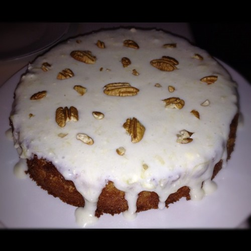 Pineapple cake w/ cream cheese icing & pecans….I was pretty busy today in The Full Belly Kitchen!  (Taken with Instagram)