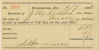VOTING IN 1896 = POLL TAX