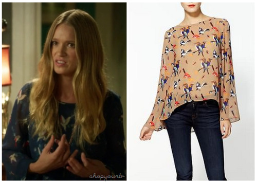This is the blue blouse with a bird print on it that Lily Ann wore in this week's episode of Hart of Dixie.You can buy her blouse HERE for $46.50