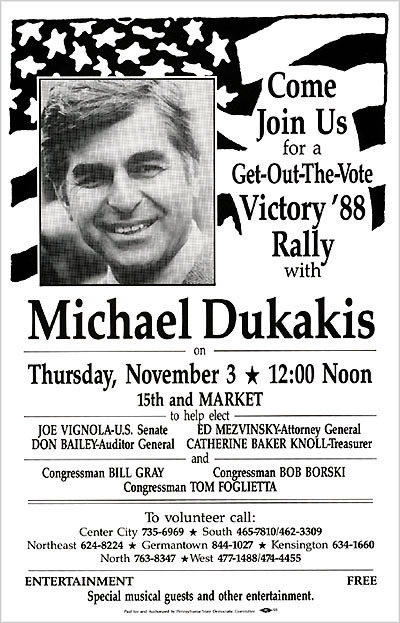 "Michael Dukakis and the Lessons of 1988""I made a deliberate decision that I was not going to respond to the Bush attack campaign. That choice was just a huge mistake.""Michael Dukakis, Huffington Post interview, May 23 2009 The chaotic, ugly 1988 Democratic presidential primaries should have primed then-Massachusetts governor Michael Dukakis for the all-out assault he would face in the general election against then-Vice President George Bush, but they did not. His eventual loss remains a cautionary tale to presidential aspirants. Dukakis was unable or unwilling to fend off the attacks from Bush. Bush seized upon Dukakis' liberalism, and additionally insisted he somehow was a ""Harvard Yard"" elitist (Dukakis is a Swarthmore grad; Bush is a Yale alum). Later, when Dukakis at first declined to release his medical records, rumors were circulated about a past psychiatric condition (his long-term doctor repudiated the claims). The Bush camp also hammered Dukakis over his support for Massachusetts' prison furlong program. Convicted murderer Willie Horton, serving a life sentence for murder without the possibility for parole, was nonetheless released for a weekend, courtesy of the program. He failed to return and subsequently raped a woman and beat a man. The Bush campaign, including manager Lee Atwater and media consultant Roger Ailes (president of Fox News Channel), used the tragedy to smear Dukakis at every opportunity, most famously with an ad entitled ""Revolving Door,"" which, while it did not name Horton, mentioned ""weekend furloughs to first-degree murderers not eligible for parole"" who ""committed other crimes like kidnapping and rape."" It was very successful and almost overnight cemented the idea that Bush was tough on crime and Dukakis was not.  Though Dukakis' anti-death penalty stance was well-known, during a debate with Bush, moderator Bernard Shaw asked a question many would later claim was inappropriate: ""Governor, if Kitty Dukakis [his wife] were raped and murdered, would you favor an irrevocable death penalty for the killer?"" Dukakis stood firm and said he would not, but some viewers judged Dukakis not by his answer, but by what they felt was a lack of sufficient emotionality in his answer.  In the end, Dukakis and his running mate, Texas Senator Lloyd Bentsen, lost to George Bush and Indiana Senator Dan Quayle in an Electoral College landslide.  The lessons of the Dukakis loss – respond immediately and with force to negative attacks – likely did not escape at least one Democrat: then-Arkansas governor Bill Clinton, who would face his own barrage from the Bush campaign machine in the 1992 presidential election. But Clinton was prepared: he created a team within his campaign whose sole job it was to fend off the attacks."