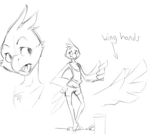 permavermin:  I guess I sorta redesigned my bird today? He wears really light clothing because he feels constricted otherwise, especially while flying.