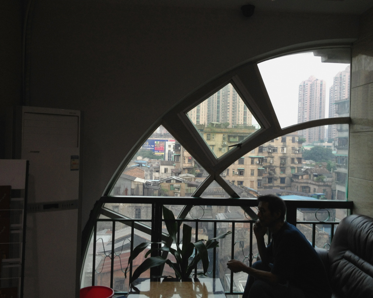 My father and the view from a Guangzhou hotel