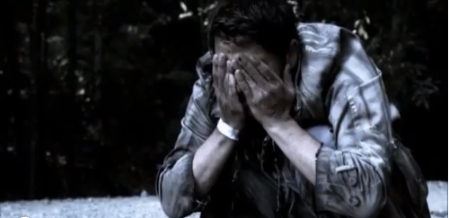 In which Cas is still wearing his hospital bracelet.