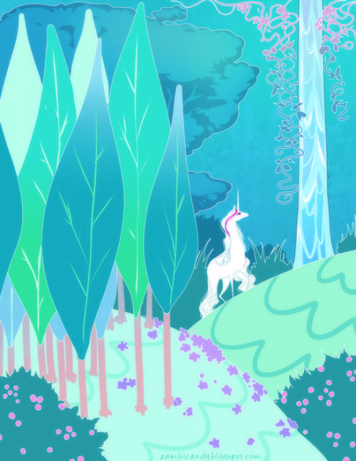 I guess this is The last unicorn inspired even tho that wasn't my intention @_@ oops. I was just trying to draw my baby in a forest and wellll