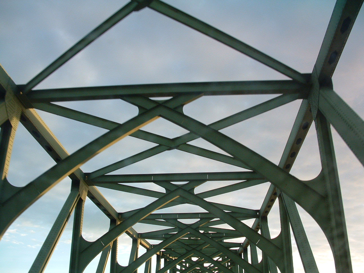 criss-crossing the bridge