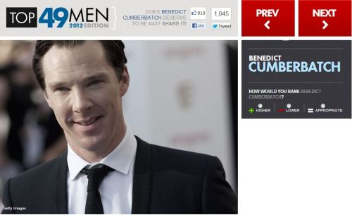cumbertrekky:  Vote him higher because at the moment a lot want him lower http://uk.askmen.com/specials/2012_top_49/43-benedict-cumberbatch.html