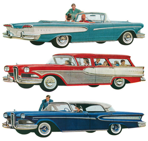 Three images from a three-page Edsel advertisement. by totallymystified on Flickr.Three images from a three-page Edsel advertisement.