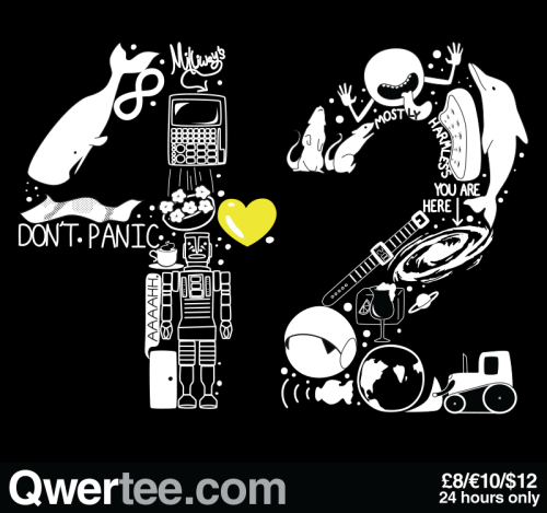 "qwertee:  Just 12 hours remain to get our Last Chance Tee ""Forty Two"" on www.Qwertee.com/last-chance Get this great design now for £10/€12/$14 before it's GONE FOREVER! Be sure to ""Like"" this for 1 chance at a FREE TEE this weekend, ""Reblog"" it for 2 chances and ""Follow"" us for a 3rd chance (if you're not following us already:) Thanks as always!"""