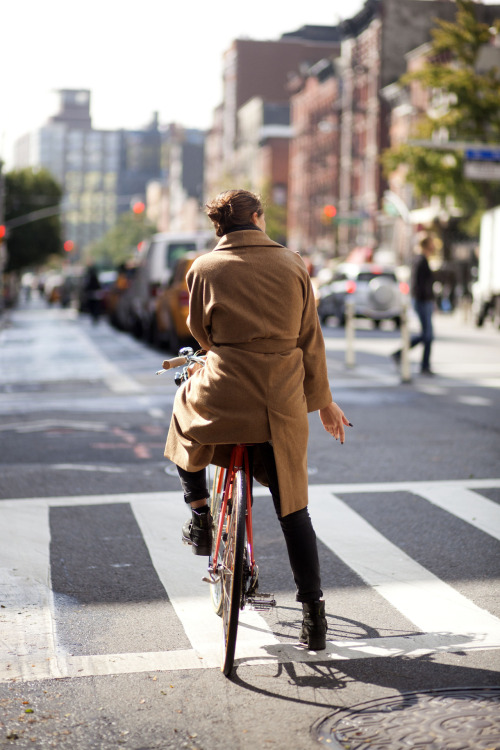 Woman on Bike - 2nd Avenue (Fall is coming)