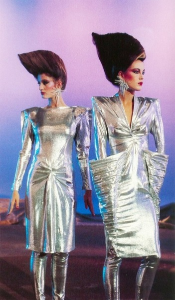 superseventies:  Models wearing Thierry Mugler, photographed by Peter Knapp, 1979.