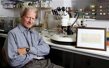 "jtotheizzoe:  discoverynews:  star-driver:  Sir John Gurdon, Nobel Prize winner, was 'too stupid' for science at school   At the age of 15, Prof Sir John Gurdon ranked last out of the 250 boys in his Eton year group at biology, and was in the bottom set in every other science subject.   Sixty-four years later he has been recognised as one of the finest minds of his generation after being awarded the £750,000 annual prize, which he shares with Japanese stem cell researcher Shinya Yamanaka.   Speaking after learning of his award in London on Monday, Sir John revealed that his school report still sits above his desk at the Gurdon Institute in Cambridge, which is named in his honour.    my mom always said grades are important, but they're not the most important thing.  I love how he framed that. He probably looked at it every day and said, ""Oh yeah?"" Here's a bigger image of the letter. Grades are poor measures of one's potential to be curious.  it's a shame grades are such a huge part of getting into grad school/jobs"