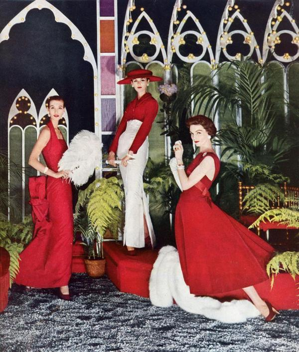 theniftyfifties:  Fashions in red and white for Vogue, 1956.