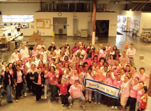 NEWS 8 Report It Photo of the Day: Employees of Radiall USA Inc. in New Haven wear pink today to raise awareness for Breast Cancer. Photo sent in via Report It by Janice Martin.