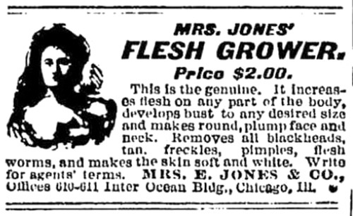 Mrs. Jones' Flesh Grower Newspaper Ad - 1901