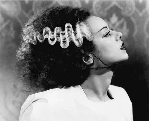 ICONIC HAIR SUNDAY (HALLOWEEN EDITION): BRIDE OF FRANKENSTEIN Elsa Lanchester's hair was permed and combed over a wire mesh frame to achieve the style, the streaks of white hair indicating the character was created with a little help from electricity. Bride of Frankenstein (1935), directed by: James Whale, hair and make-up artist: Jack Pierce