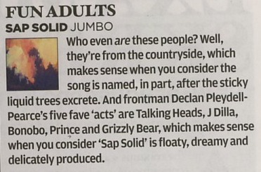 Fun Adults in the NME.  The word 'Jumbo' has been mistakenly used instead of the words 'Tough Love'