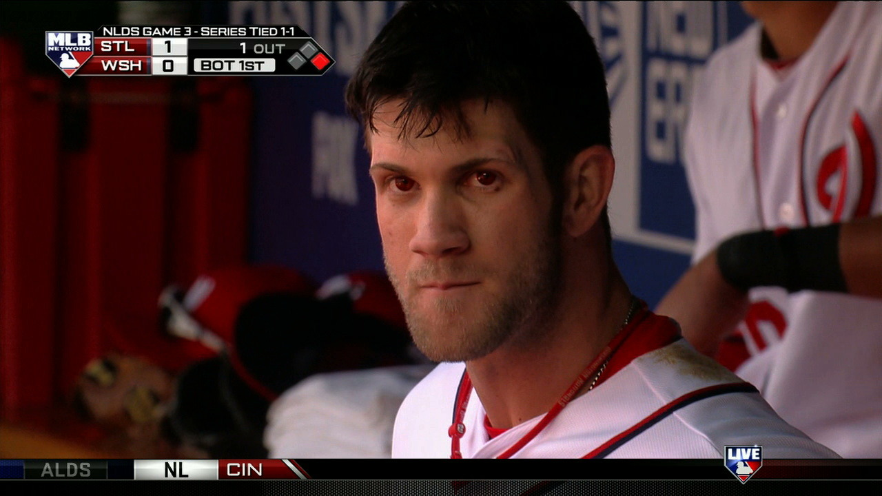 What, no eye black? Apparently these are contact lenses and not the result of a cat pissing in his eyes.