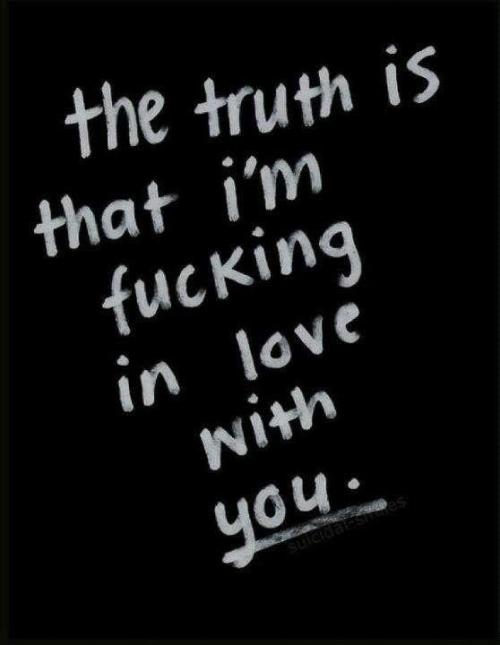 The truth is that I'm fu**ing in love with you.