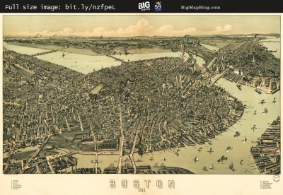 Map: Walker's BOSTON, MASSACHUSETTS Birdseye Map (1899) originally posted to the BIG Map Blog.