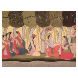 Radha and Krishna seated in a grove